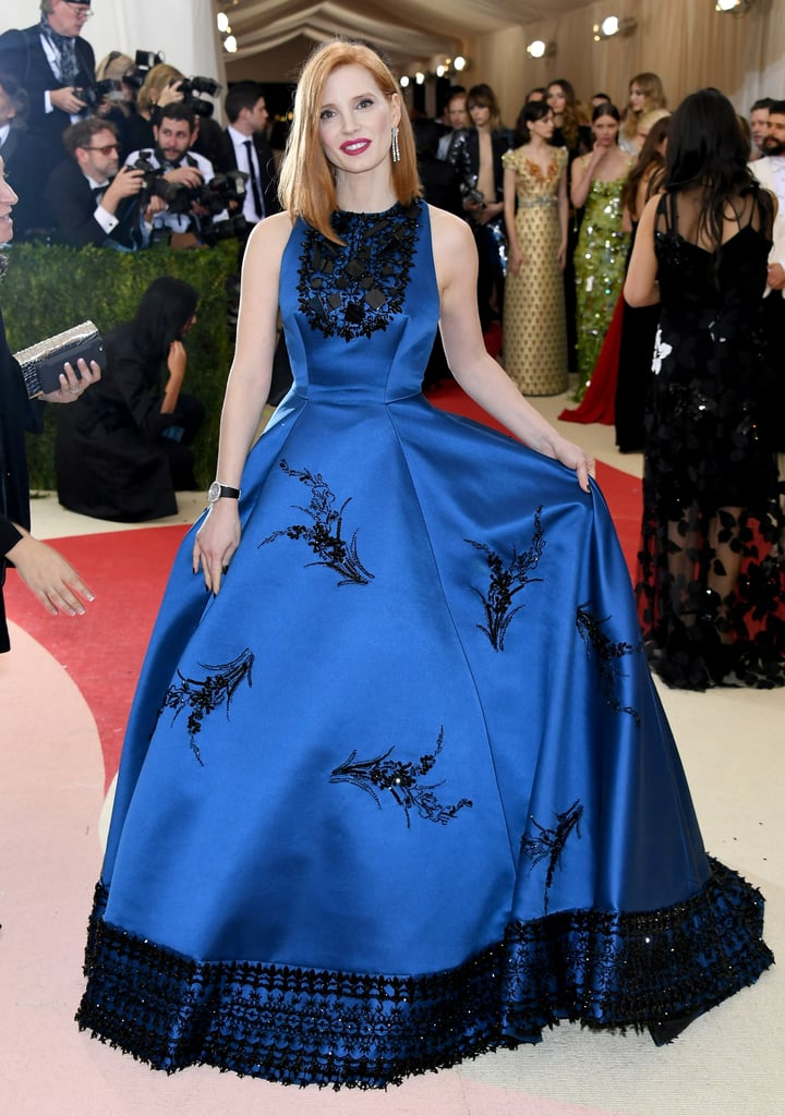 She wore a blue Prada gown and Piaget jewels to the 2016 Met Gala.