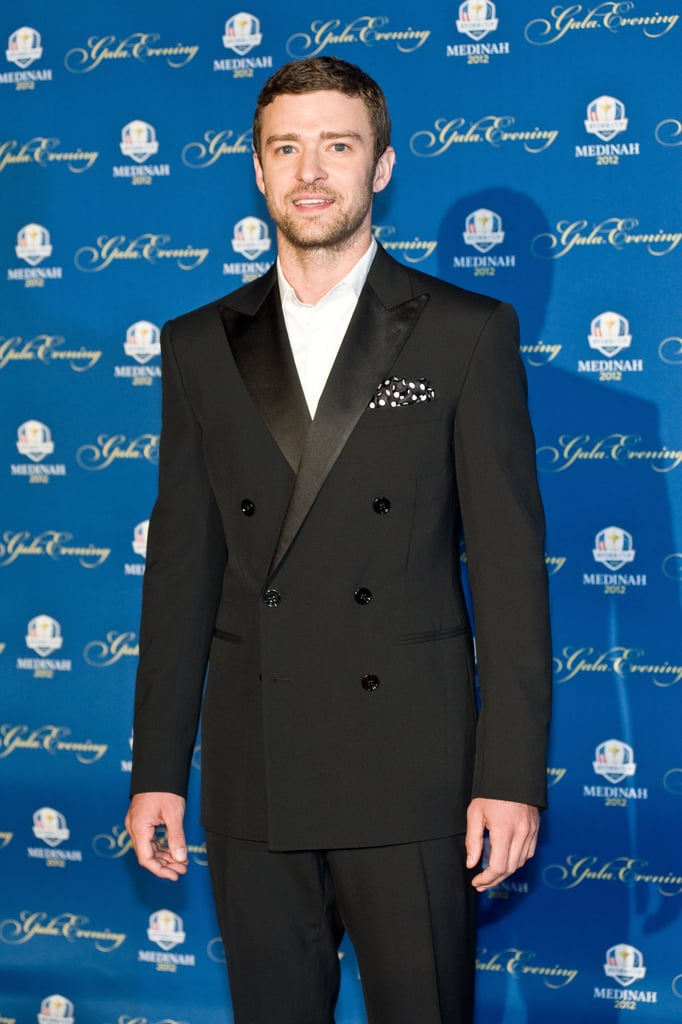 Justin Timberlake suited up last night for the 39th Ryder Cup Gala in Rosemont, IL, where he took the stage alongside Tiger Woods and other notable names from the golf world. The actor and singer rocked a polka-dotted pocket square for the formal occasion. He posed alone on the red carpet, but on Tuesday, his fiancée, Jessica Biel was on the golf course to support him in the Ryder Cup's Captains & Celebrities scramble. Justin's a well-known golf enthusiast, and was joined on the course by Olympian Michael Phelps and comedian George Lopez, for the fundraising game.  It's been a jam-packed month for Justin. He premiered his latest film, Trouble With the Curve, in LA last week before flying with two dozen of his closest pals to Cabo. Justin's friends threw him a bachelor party South of the Border as he preps for his wedding to Jessica.