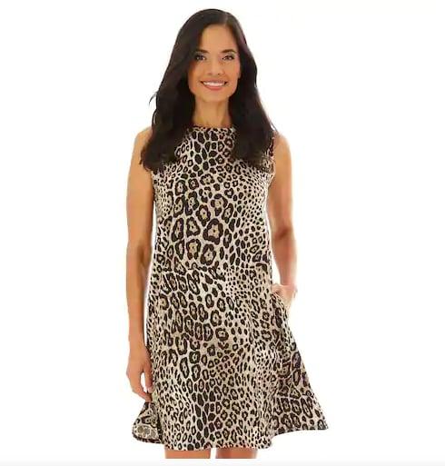 Printed Sleeveless Swing Dress