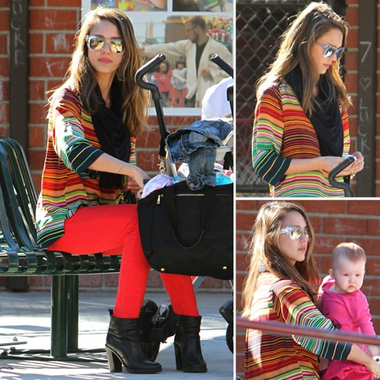 Jessica Alba Colorful Stripe Top