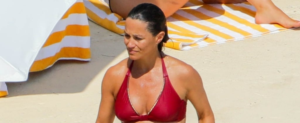 Pippa Middleton Pregnant in Red Bikini August 2018