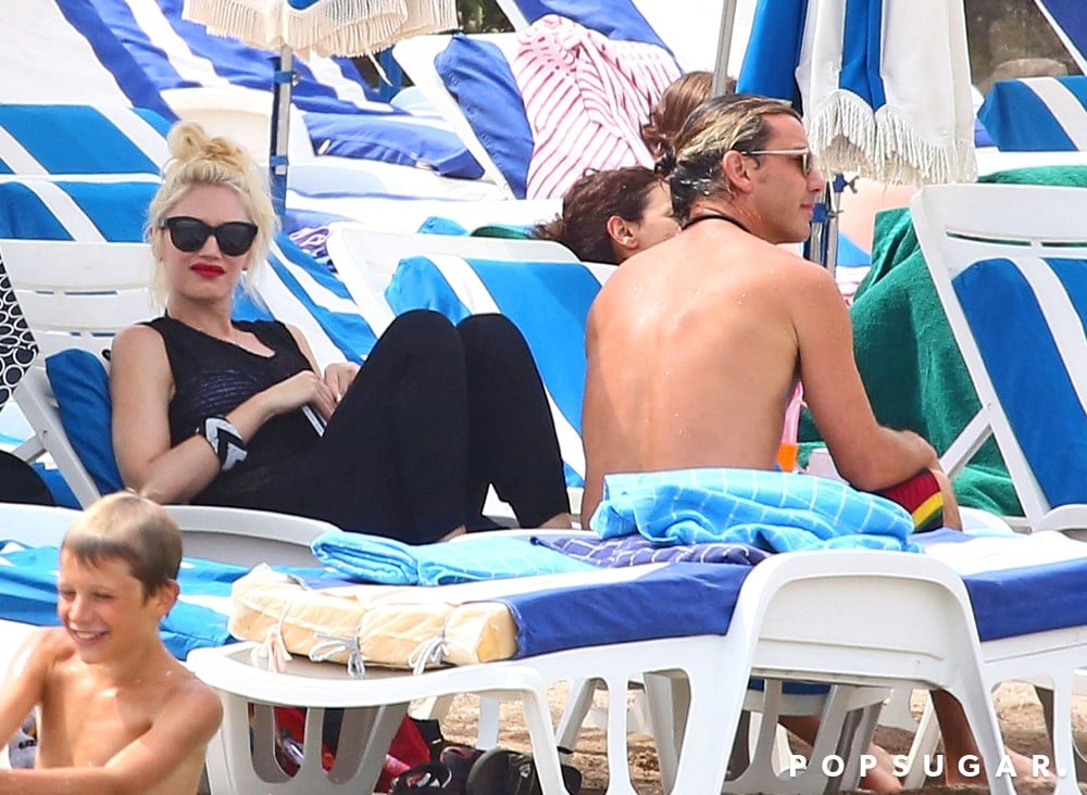 Gwen Stefani and Gavin Rossdale lounged on the beach.