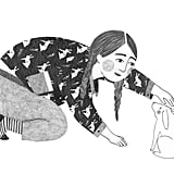 The print on these pajamas remind a girl of the great times she had with the pet she had to leave behind – and can't wait to get back to one day in this sketch by Lieke van der Vorst from the Netherlands.