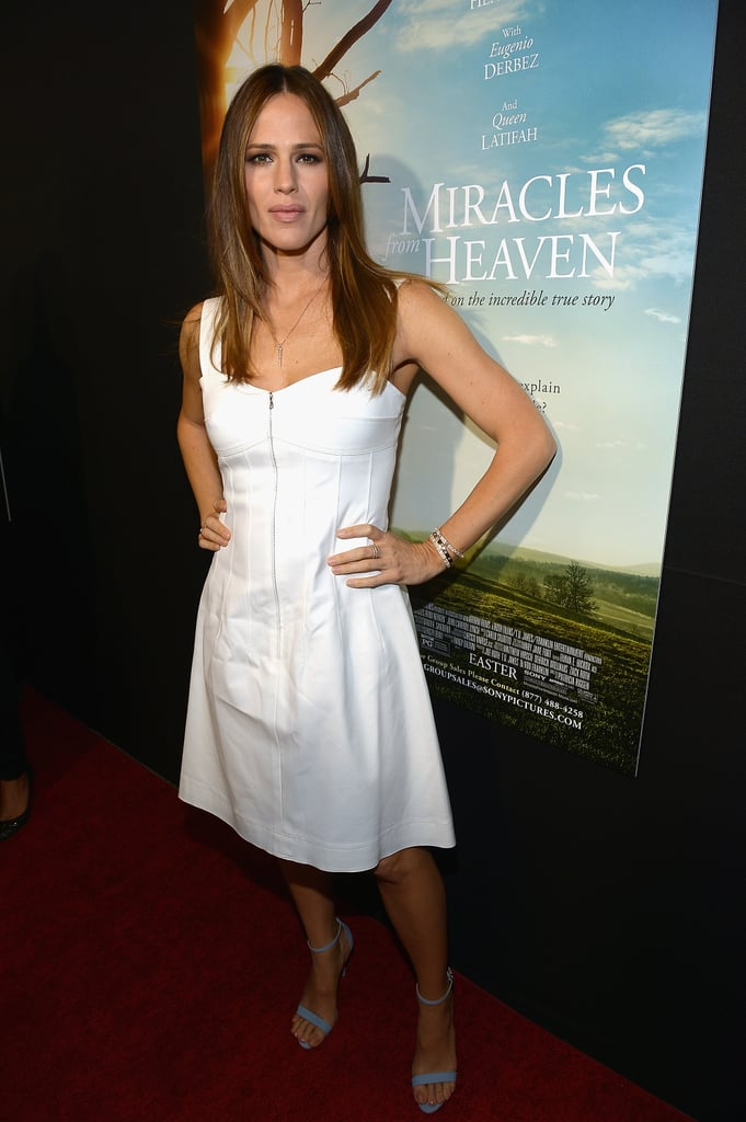 "Jennifer Garner continued her press tour for Miracles From Heaven in Miami on Monday. The actress looked white-hot in a knee-length dress and served up some serious face while posing for cameras. While on the red carpet, Jennifer also linked up with her costar, Eugenio Derbez, who plays a doctor in the film. Following her riveting profile in Vanity Fair, Jennifer has had a lot on her plate between her new movie, the Oscars, and her hangouts with estranged husband Ben Affleck. Most recently, Ben broke his silence on Jennifer's bombshell interview, saying, ""Jen's great. She's a great person. We're on great terms."" Read on to see more of Jennifer, and then look back at her stunning Hollywood evolution."