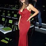 Proving a little red dress is unforgettable, Salma Hayek's look from an October 1996 Versace show in New York City is still unmissable.