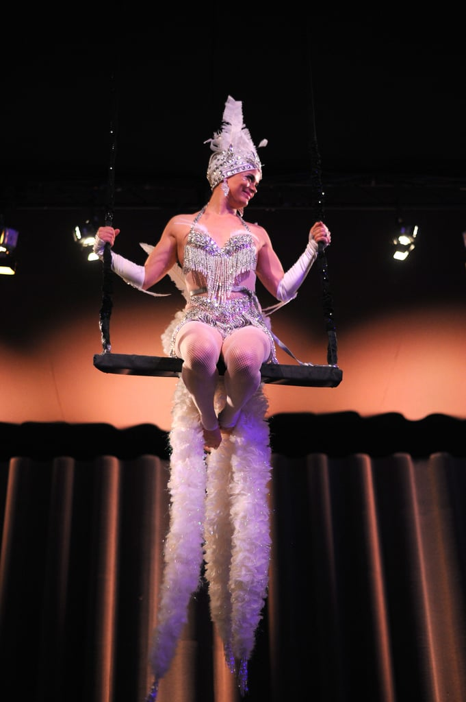 Inside, gorgeous 1920s-inspired performers swung from the ceiling.