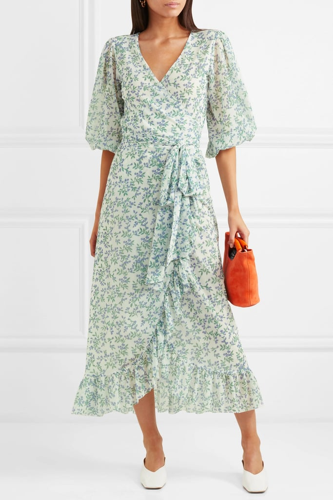 70a6c783ea43 Ganni Tilden Floral-Print Mesh Wrap Dress | What to Wear to a Beach ...
