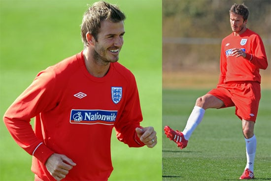 Pictures of David Beckham at a Training Session With England's World Cup Soccer Team