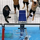Matt Grevers, Brendan Hansen, Michael Phelps, and Nathan Adrian brought another first-place finish home for Team USA in the 4x100m medley relay.