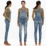 The overalls we tried on are the Madewell Skinny Overalls in Adrian wash, which are no longer available, though a similar iteration is here. These are stretchy yet structured, and they've been hand-distressed. Here's how they appear on the Madewell model.