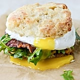 Havarti Breakfast Biscuits With Jalapeño, Bacon, and Arugula