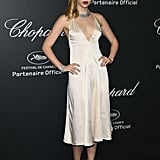 At a Chopard event at the 67th Cannes Film Festival, Suki chose a simple satin slip dress by Stella McCartney, teamed with vintage hair and makeup.