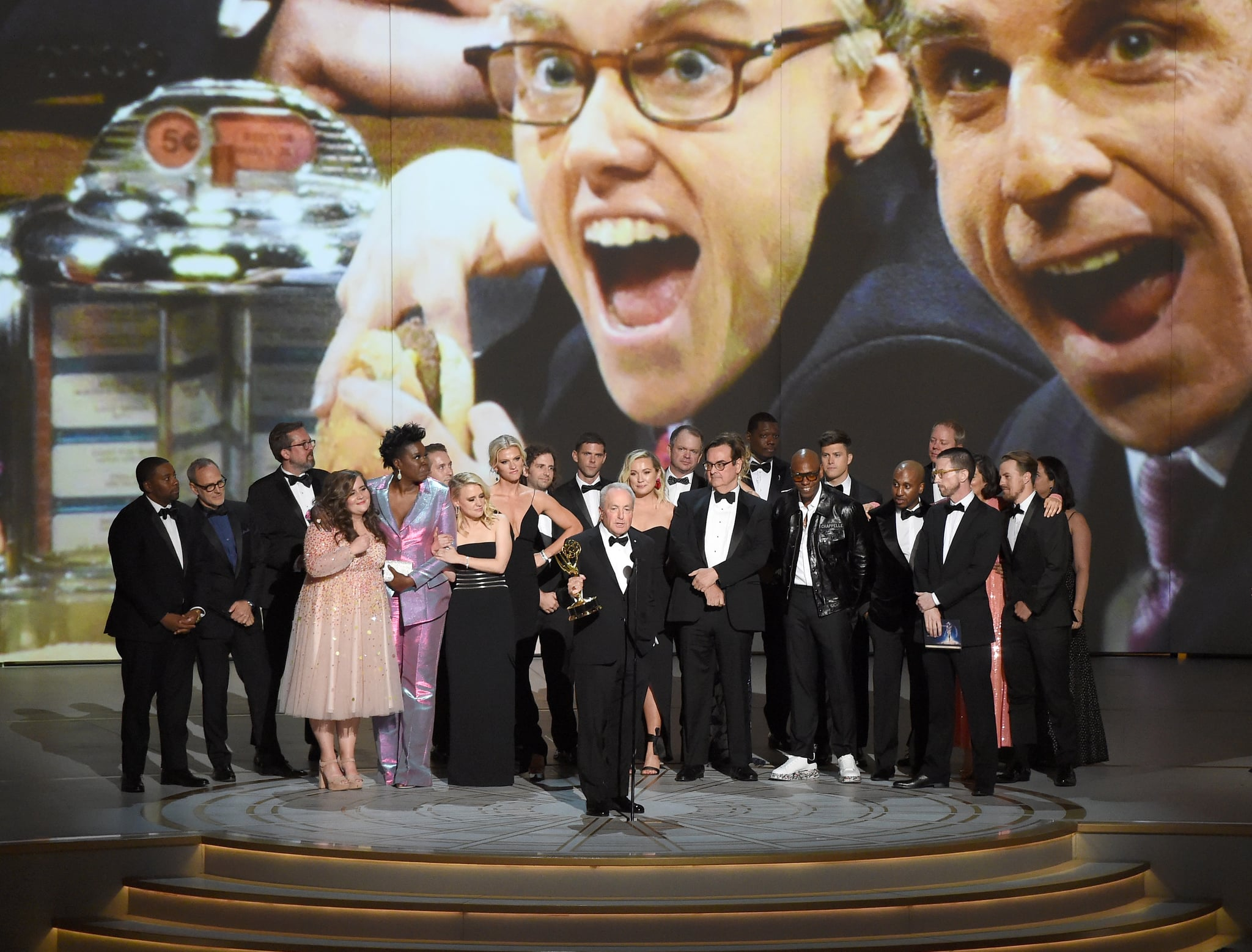 LOS ANGELES, CA - SEPTEMBER 17:  Lorne Michaels (C) and cast and crew accepts the Outstanding Variety Sketch Series award for 'Saturday Night Live' onstage during the 70th Emmy Awards at Microsoft Theatre on September 17, 2018 in Los Angeles, California.  (Photo by Kevin Winter/Getty Images)