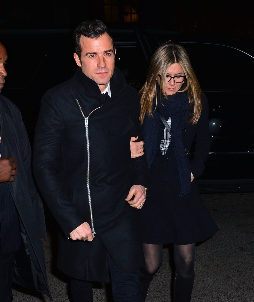 """Justin Theroux joined Jennifer Aniston for a special screening of her new feature Cake in NYC on Sunday. The pair kept the night fairly casual, with Justin choosing to skip the red carpet and Jennifer posing with her costar Mamie Gummer. Jennifer has been earning rave reviews for her performance in the indie flick, in which she plays a mourner suffering from chronic pain. She did admit that she responded to the news of early Oscar buzz """"awkwardly and stutteringly"""" but that she's also """"flattered"""" by the attention. Aside from Cake, Jen has been busy promoting her other film, Horrible Bosses 2. Last week, Jen jetted to London to premiere the flick with her costars Jason Sudeikis and Jason Bateman, although Justin skipped the red carpet fun for that event as well."""