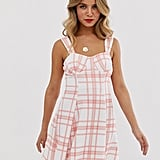 ASOS DESIGN Check Cupped Flared Mini Dress