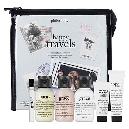 All the necessary cosmetics you need in a convenient travel size makes life (and going through security) a whole lot easier.  Philosophy Happy Travels Set ($32)