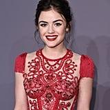Lucy Hale's Red Jenny Packham Dress at amfAR Gala 2018