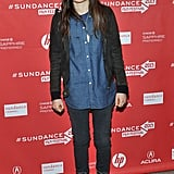 Ellen Page kept her outfit simple with a slight nod to tougher staples, including lace-up boots by bed | stü.