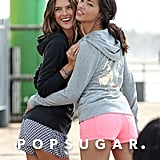 Alessandra Ambrosio and Adriana Lima posed for photos in LA.