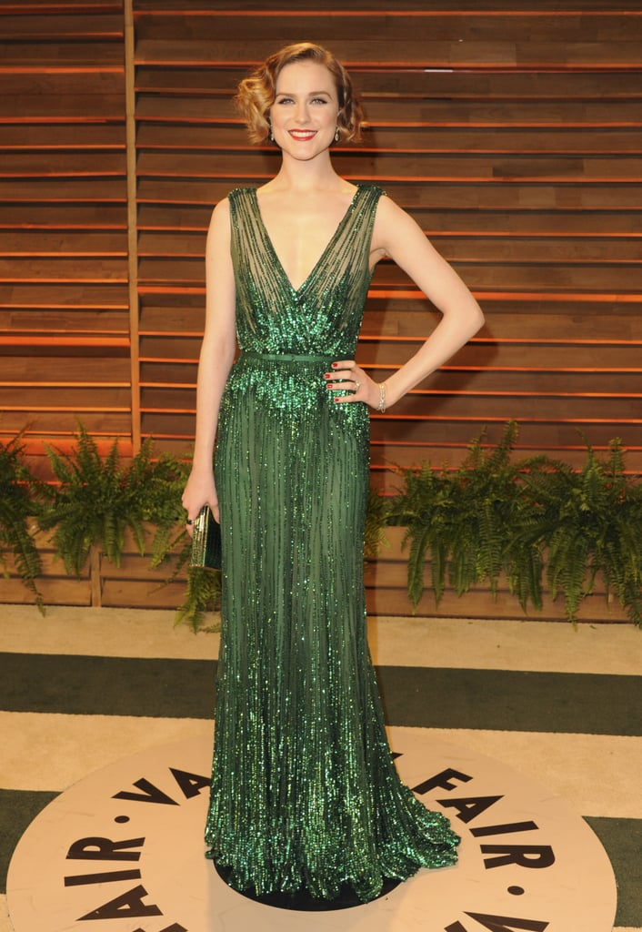 New mom Evan Rachel Wood walked the red carpet in a low-cut dress.