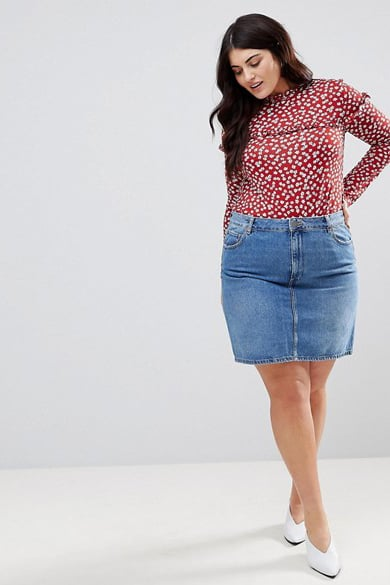 ASOS Design Curve Denim Original High-Waisted Skirt