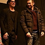 Brad Pitt and James Franco hit the stage together at the True Story premiere at the Sundance Film Festival.