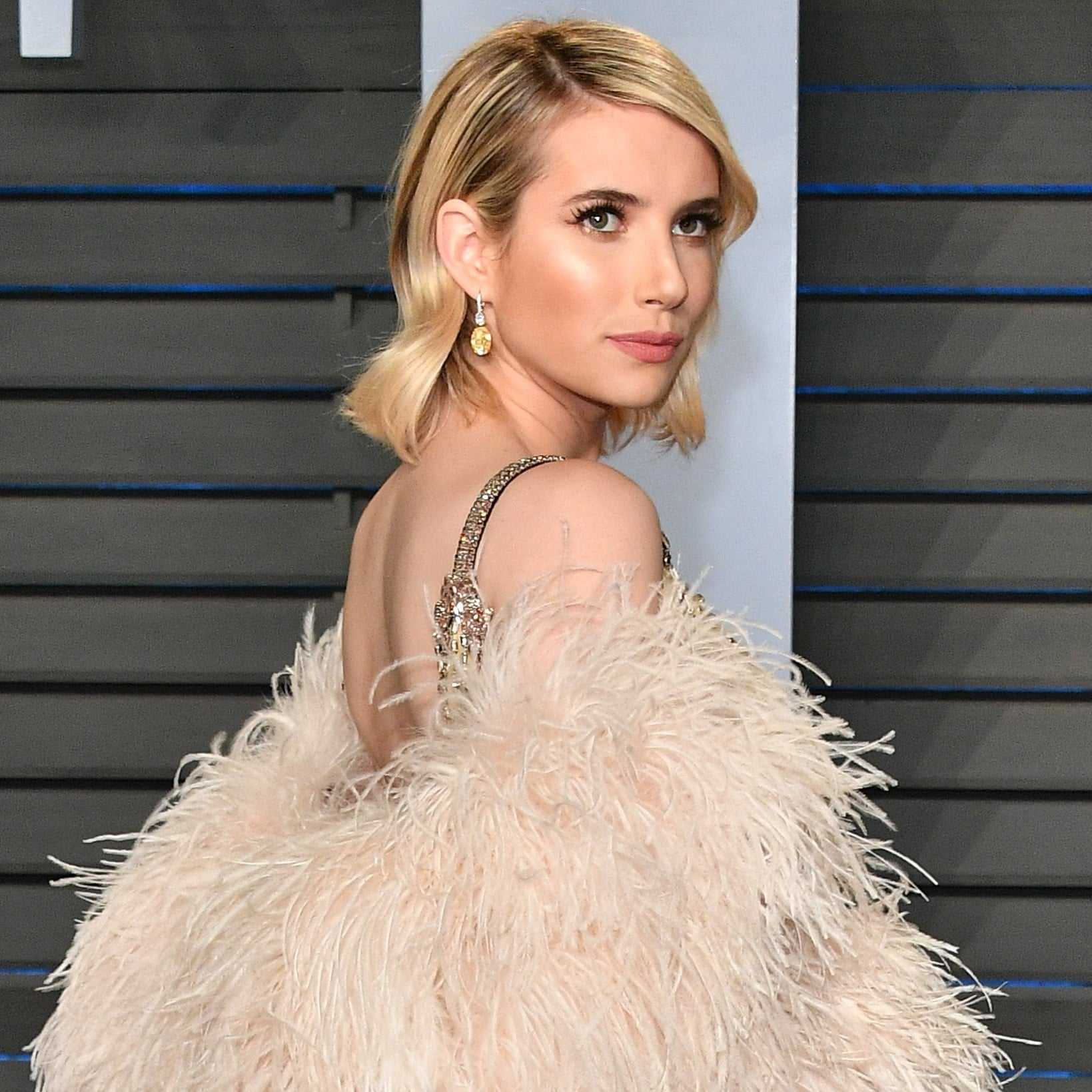 Emma Roberts Prada Dress At Oscars Afterparty 2018 Popsugar Fashion
