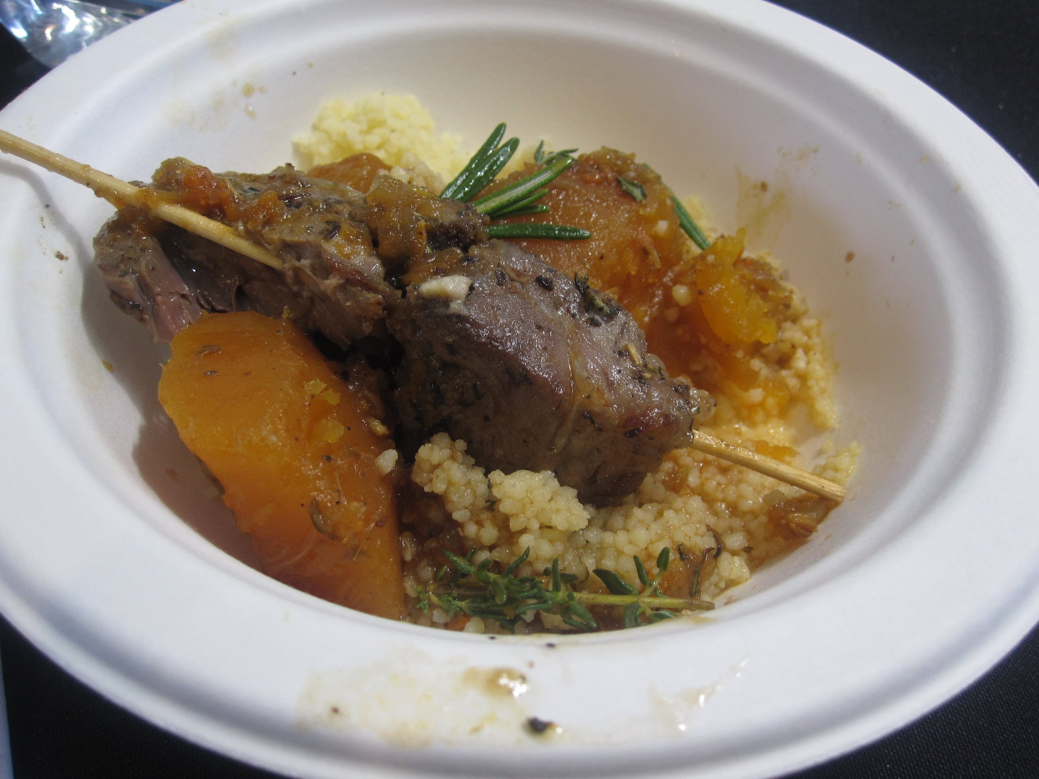 """Lamb couscous royale"" was perhaps my least favorite preparation of the event. The lamb lacked flavor and was tough."