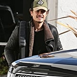 Orlando Bloom headed to a private plane at LAX.