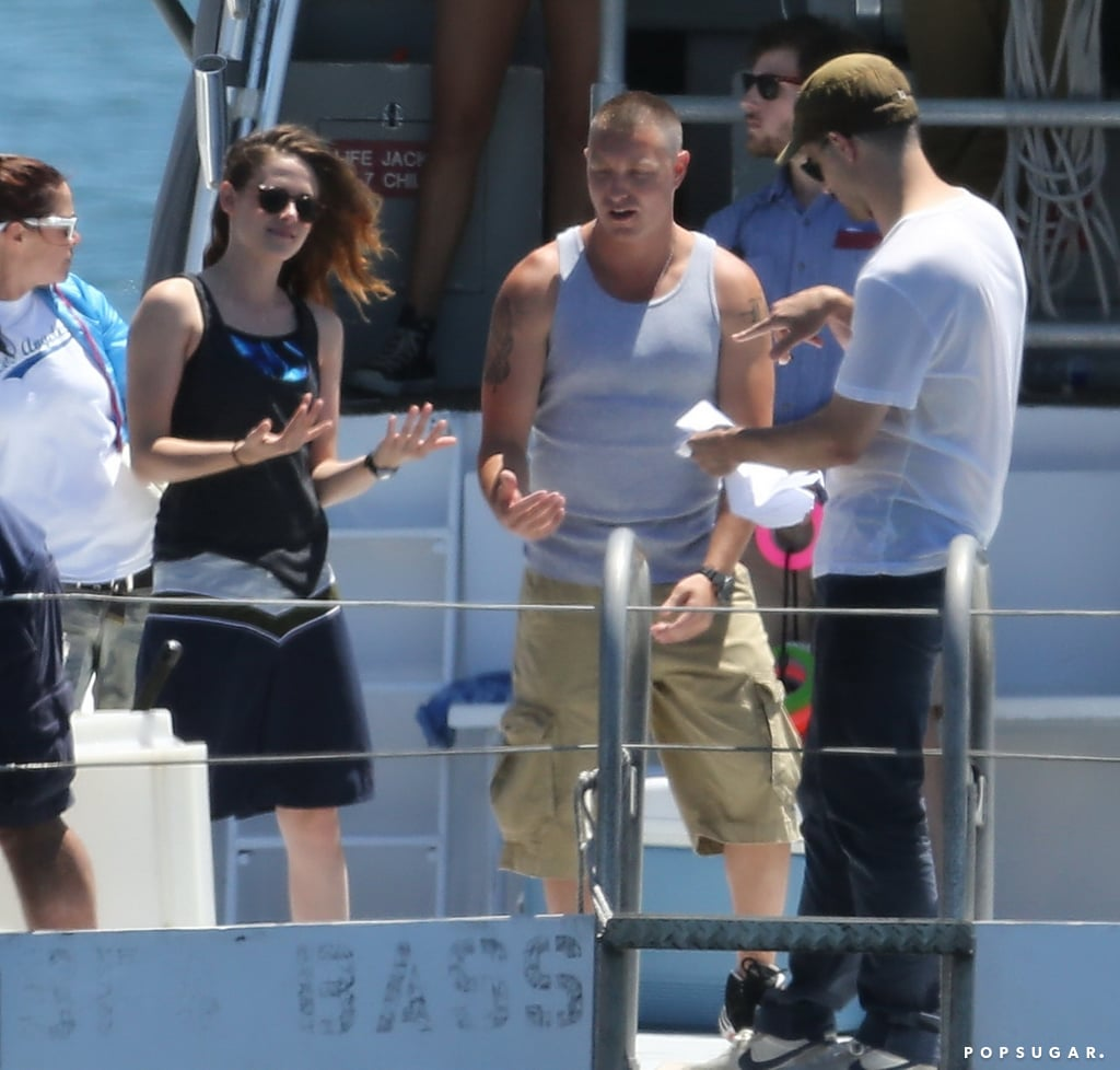 Kristen Stewart boarded a boat to film scenes for her new project, Camp X-Ray, in LA.
