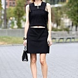 If your LBD is the statement piece, as is the case with this cutout fringed dress, maintain minimalism with the rest of the look.