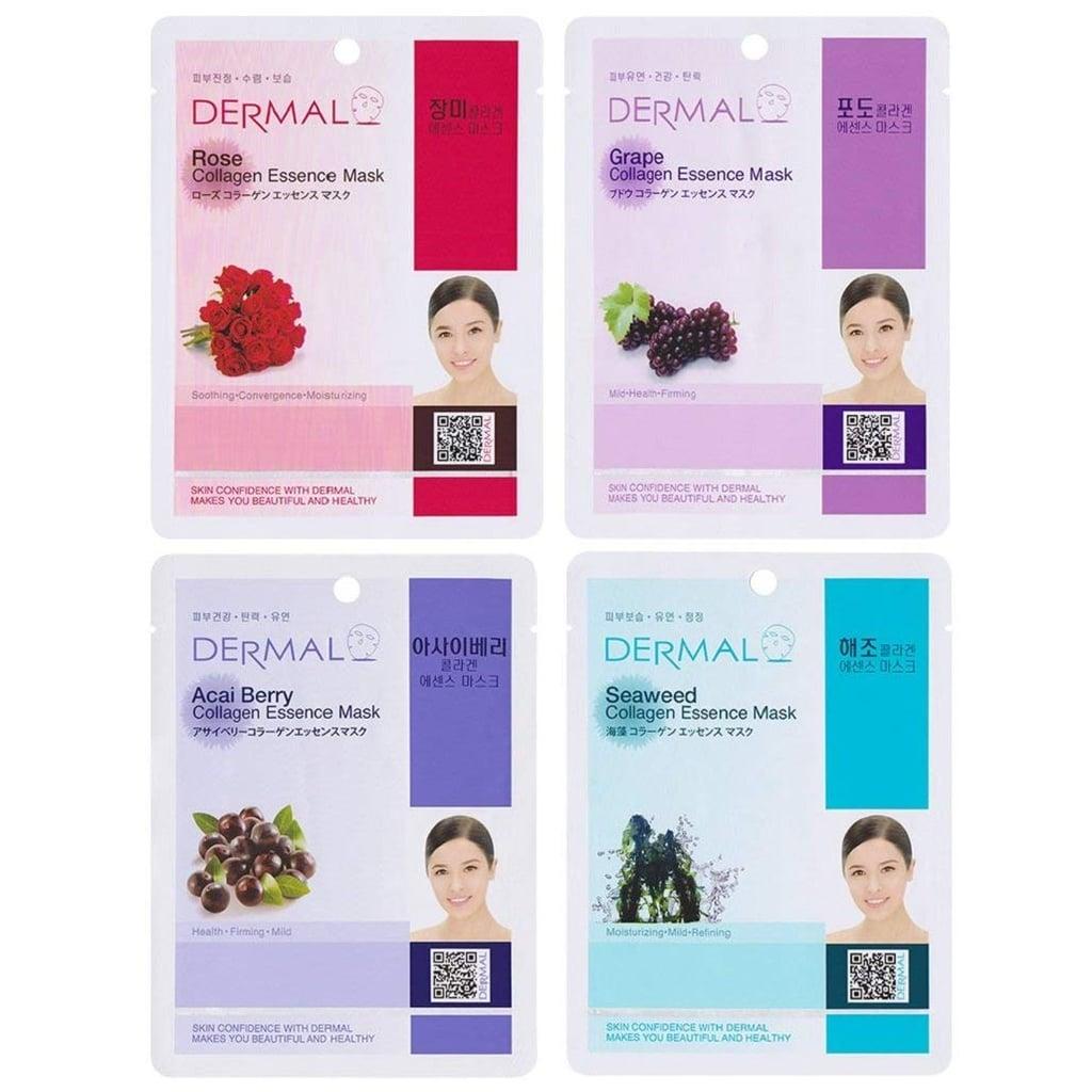 Dermal Collagen Essence Full Face Facial Mask Sheet, 16 Combo Pack