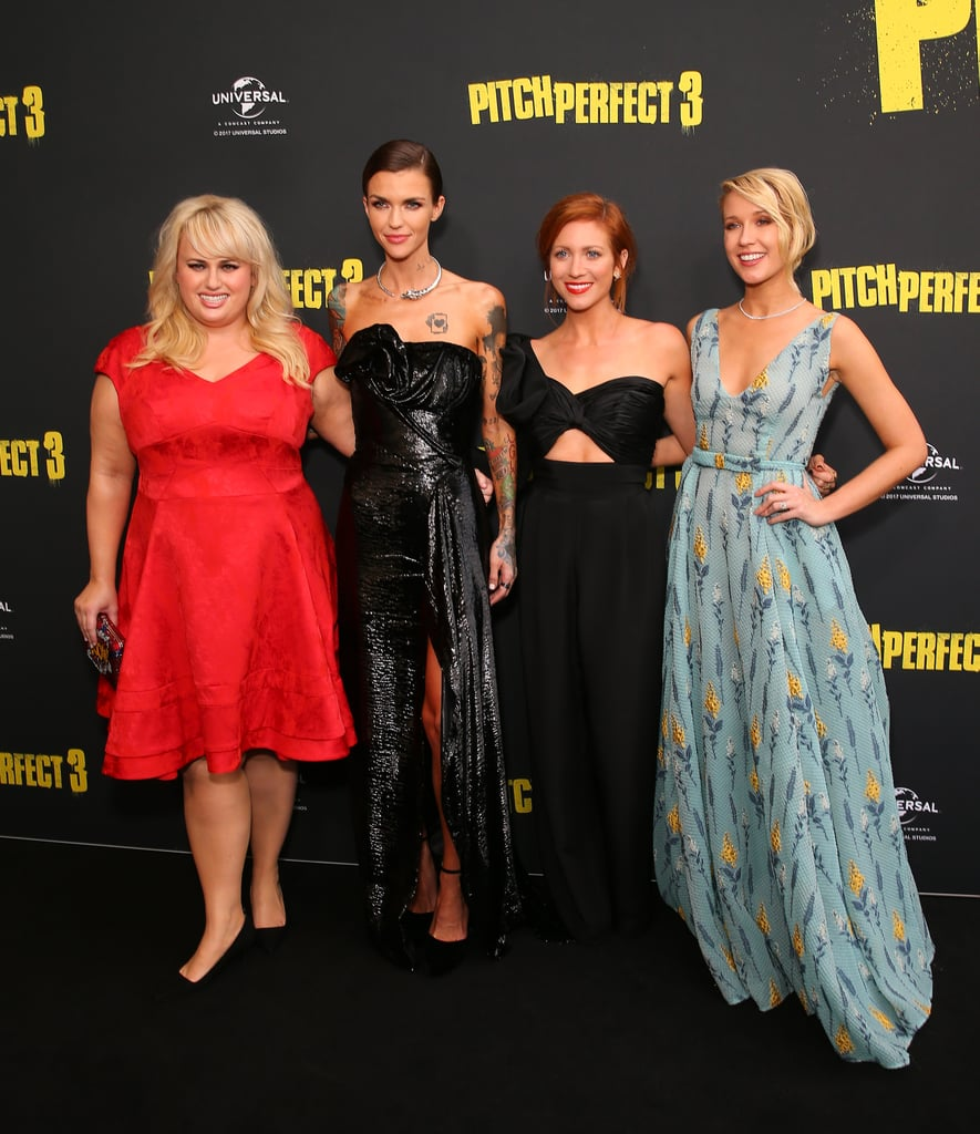 "Pitch Perfect 3 doesn't hit theaters until Dec. 22, but that doesn't necessarily mean we have to wait until then to see the Bellas in action. On Tuesday, Rebel Wilson, Anna Camp, Brittany Snow, and Ruby Rose all attended the Australian premiere of the film looking aca-perfect! Ruby brought along her mom, Katia Langenheim, and girlfriend Jess Origliasso from The Veronicas, while Rebel showed off her golden sense of humor while posing for pictures.   Prior to hitting the red carpet, Rebel spoke to Yahoo Be about the joys of working with her costars. ""We couldn't be more different, us ten Bellas,"" she explained. ""We're all from such diverse backgrounds and yet when we're together we're a team and everyone is so different looking and I think that's great. I think all of the girls — I'll take myself out — they're so beautiful and they're all so gorgeous. They have a light that shines through."" If these photos still aren't enough to hold you over until the movie premieres, then this Pitch Perfect 3 riff-off should do the trick.       Related:                                                                                                           14 Pitch Perfect Gifts That Are Aca-Mazing"