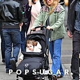 Sienna Miller pushed baby Marlowe in her stroller for a walk in NYC.