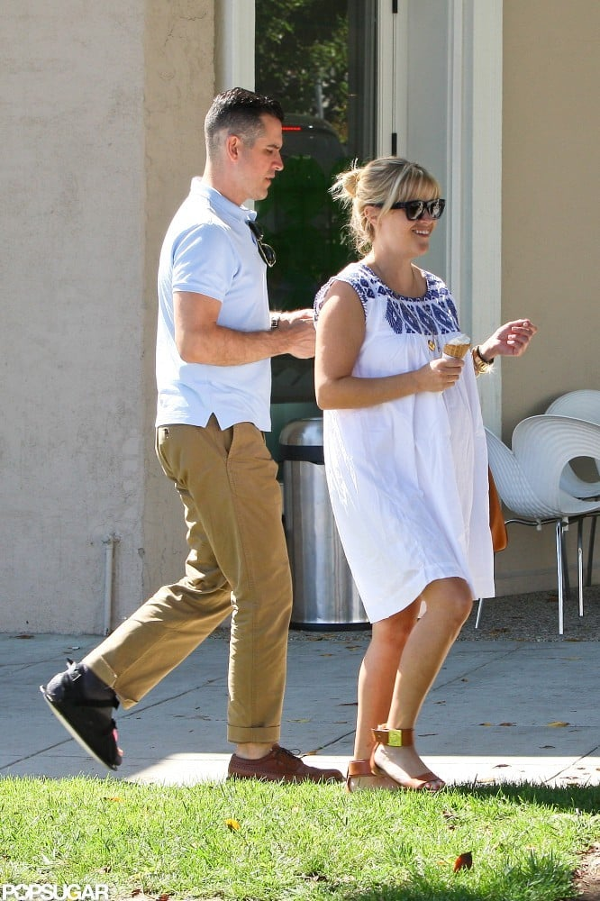 Reese Witherspoon went out for Pinkberry in LA yesterday with her husband, Jim Toth. Jim, who's expecting his first child with Reese later this year, was quite the gentleman opening the car door for her. Reese and Jim have been together in LA for the last month. Earlier in the Summer, work took her to Atlanta in order to shoot Devil's Knot with costar Colin Firth. She's not slowing down on the moviemaking front. In addition to production a big-screen adaptation of the thriller Gone Girl, Reese Witherspoon will star in The Beard, a romantic comedy.