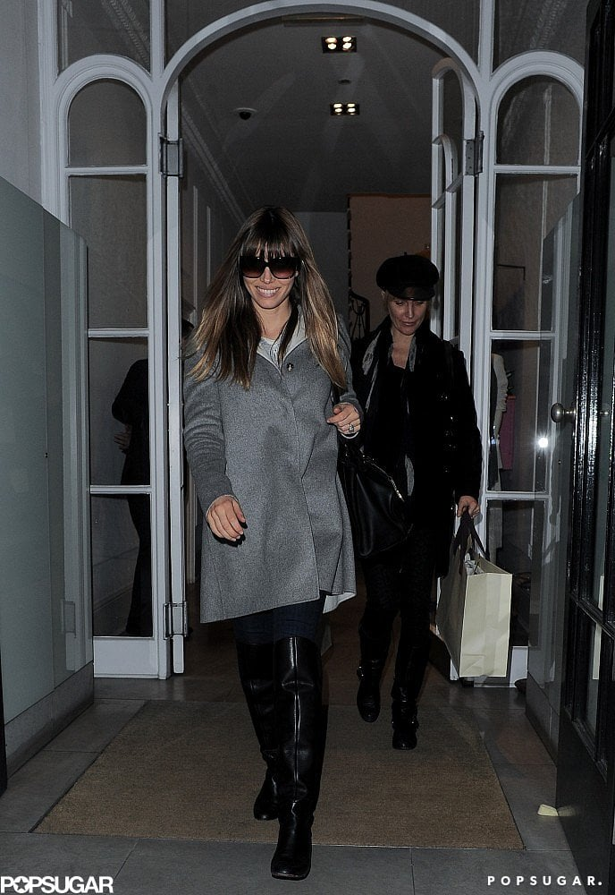 Jessica Biel wore her hair down for the outing.