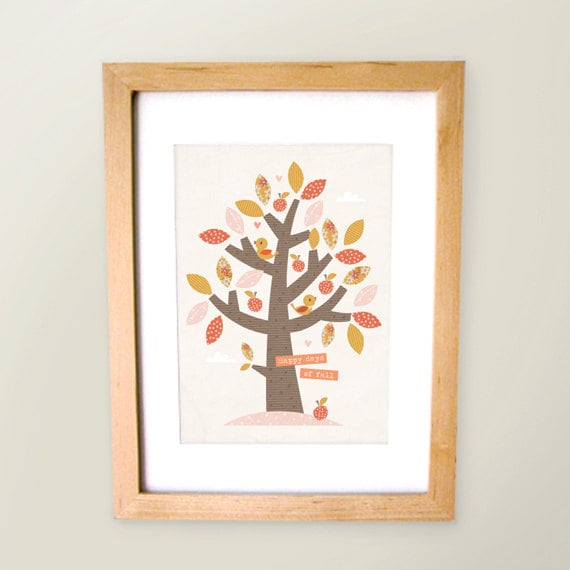 """""""Happy days for Fall"""" is the perfect saying for this colorful, leafy print ($15)."""