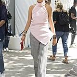 Leandra Medine wearing Rosie Assoulin at New York Fashion Week