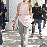 Leandra Medine wearing Rosie Assoulin at New York Fashion Week