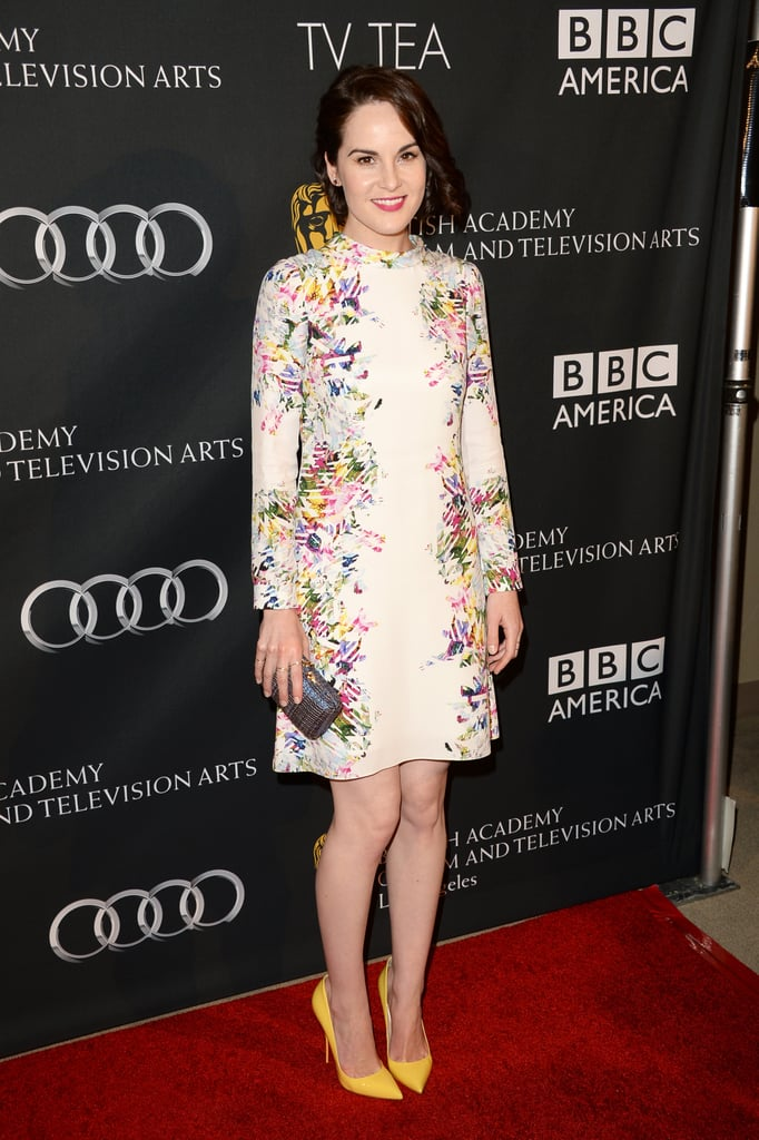 Michelle Dockery also chose a floral Erdem dress for the BAFTA LA TV Tea Party in Beverly Hills. She finished with a surprising pair of yellow Christian Louboutin pumps.