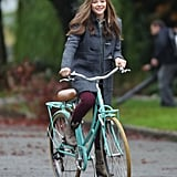 Chloë Moretz rode a bike through the Vancouver set of If I Stay on Wednesday.