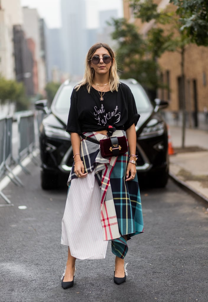Style One With a Simple Tee and a Plaid Skirt