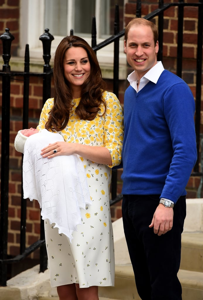 Source: Getty / Ian Gavan Kate Middleton gave birth to a healthy 8 lb. 3 oz. baby girl on Saturday morning at St. Mary's Hospital in London, and she wasted no time sharing her and Prince William's daughter with the world. As they did one day after Prince George's birth in 2013, Kate and William stepped out of the Lindo Wing to debut their newest addition, posing for photos and sharing big smiles with the crowd. Kate wore a custom yellow floral dress by Jenny Packham and left her hair down, thanks to a reported visit from her hairdresser, Amanda Cook Tucker.  The royal couple and their baby girl headed back inside the hospital for a few minutes before reemerging with their daughter in her car seat. The trio then drove the short distance back to Kensington Palace, where the baby girl will likely meet her grandparents for the first time. Since Kate and William left the Lindo Wing within hours of the baby's birth, there were no visits from Prince Charles and Camilla or Kate's parents, Carole and Michael Middleton. Prince George returned home separately following his picture-perfect appearance at the hospital to meet his new sister earlier in the day. While the new parents haven't revealed their daughter's name yet, there are plenty of popular picks that Brits have been betting on for months.    Source: Vine user Mark Di Stefano
