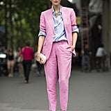 Done in bubblegum pink, a suiting look felt totally feminine. Source: Le 21ème | Adam Katz Sinding
