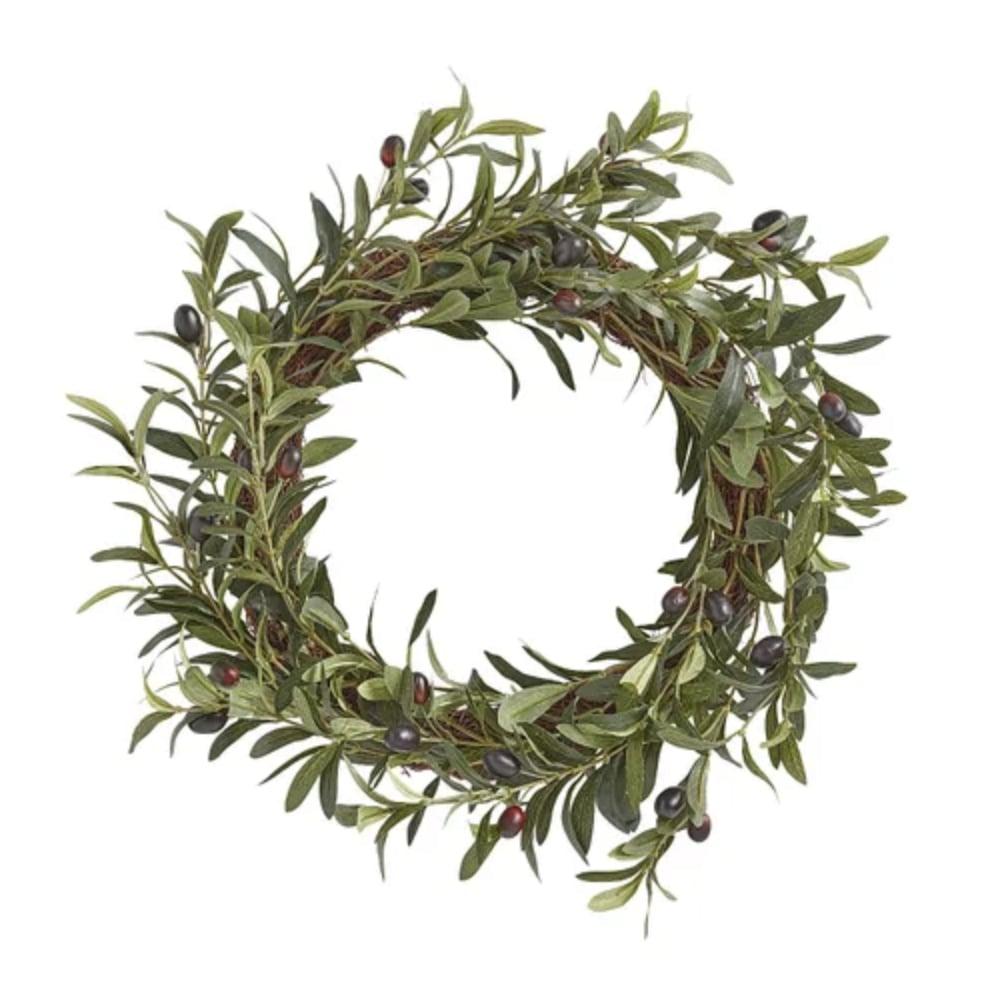 Faux Olive Leaves & Foliage Wreath