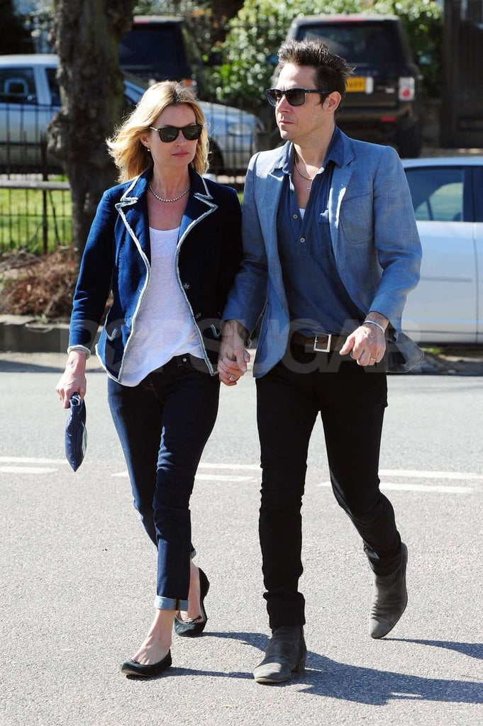 Kate Moss and Jamie Hince outside their London home.