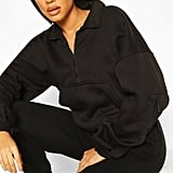 Boohoo Zip Oversized High Neck Sweat