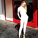 Candice Swanepoel showed off a crisp monochromatic look. Source: Instagram user angelcandices