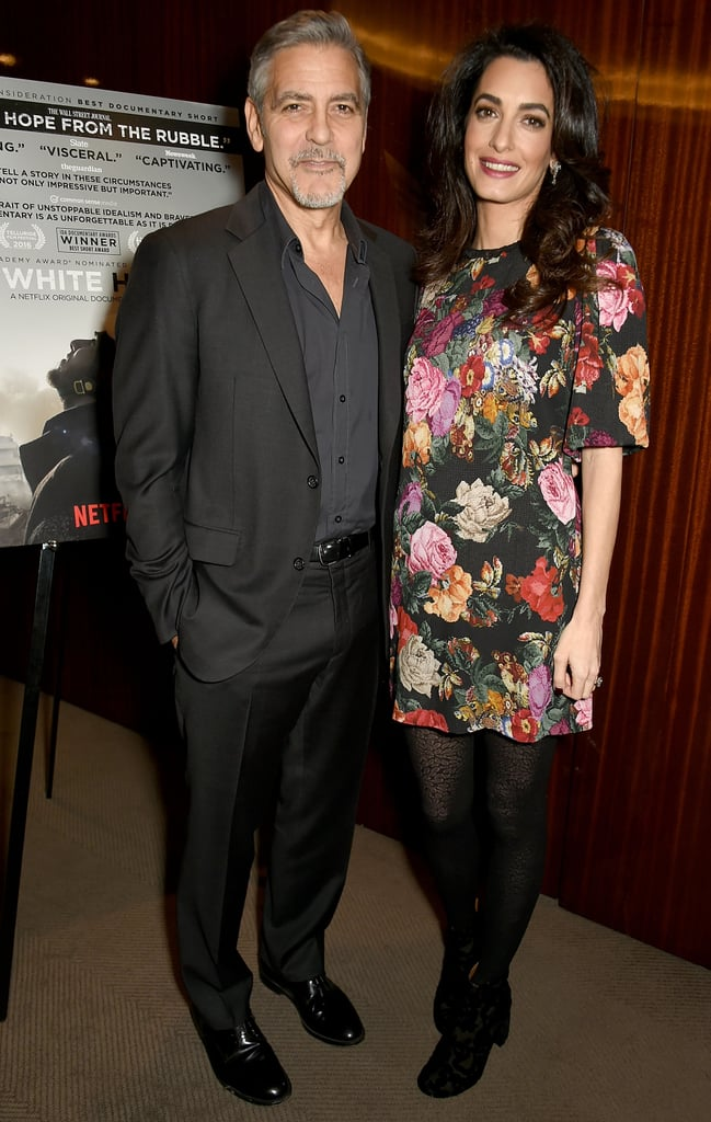 Amal Clooney Wore a Floral Shift to The White Helmets Screening