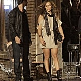 Jennifer Lopez wore a champagne colored dress for her latest scenes.